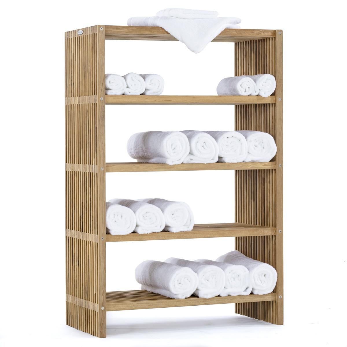 Westminster Teak Free Standing Towel Shelf And Rac