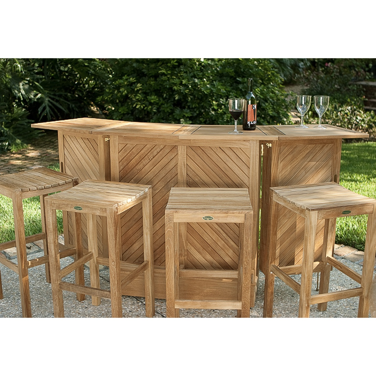 Teak Bar And Backless Bar Stool Set Westminster Teak