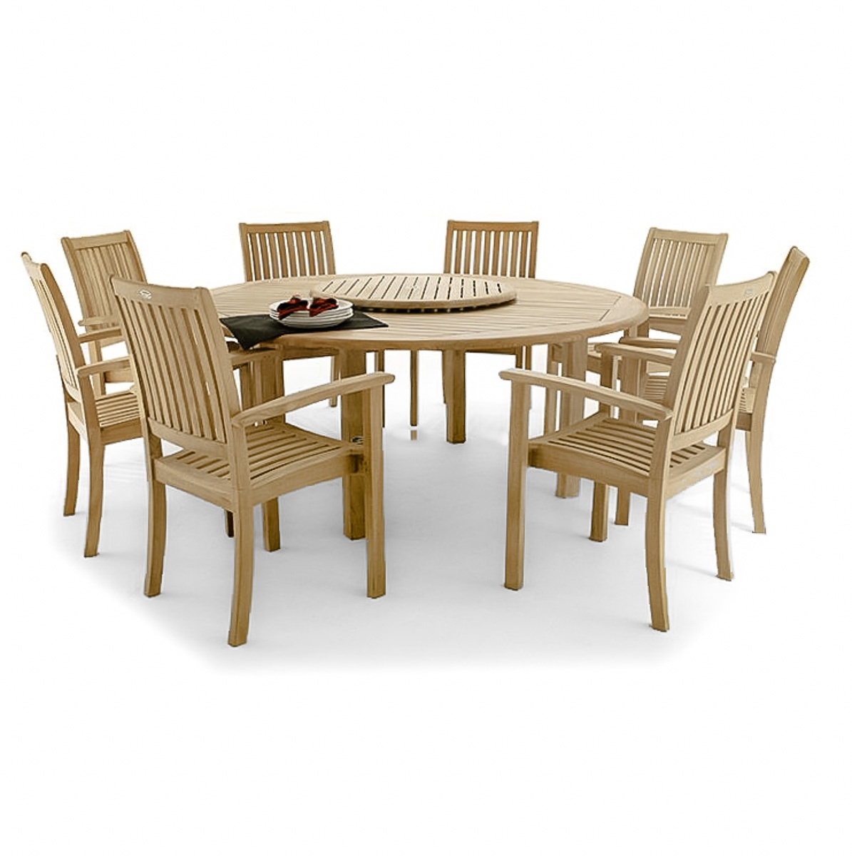 Large round teak dining set for 8 westminster teak outdoor furniture - Round teak table and chairs ...