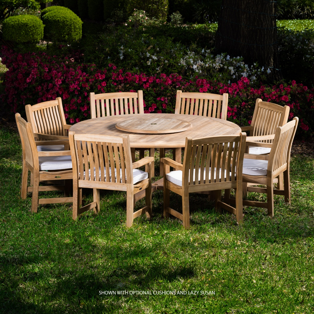 Round teak dining table set westminster teak outdoor for Teak outdoor furniture