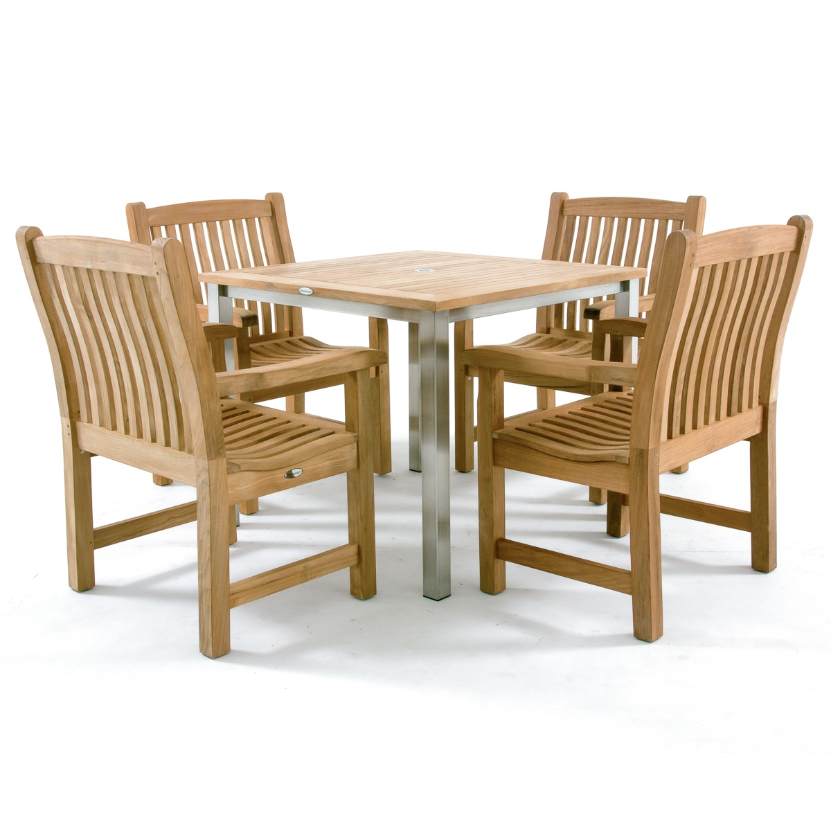 Teak and stainless steel dining set westminster teak for Outdoor furniture quality