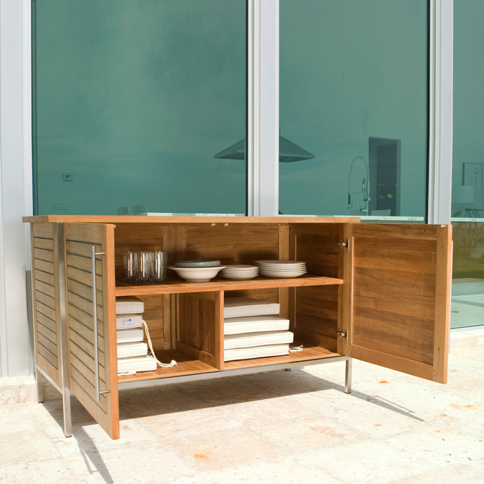 vogue teak and stainless steel outdoor patio sideb. Black Bedroom Furniture Sets. Home Design Ideas
