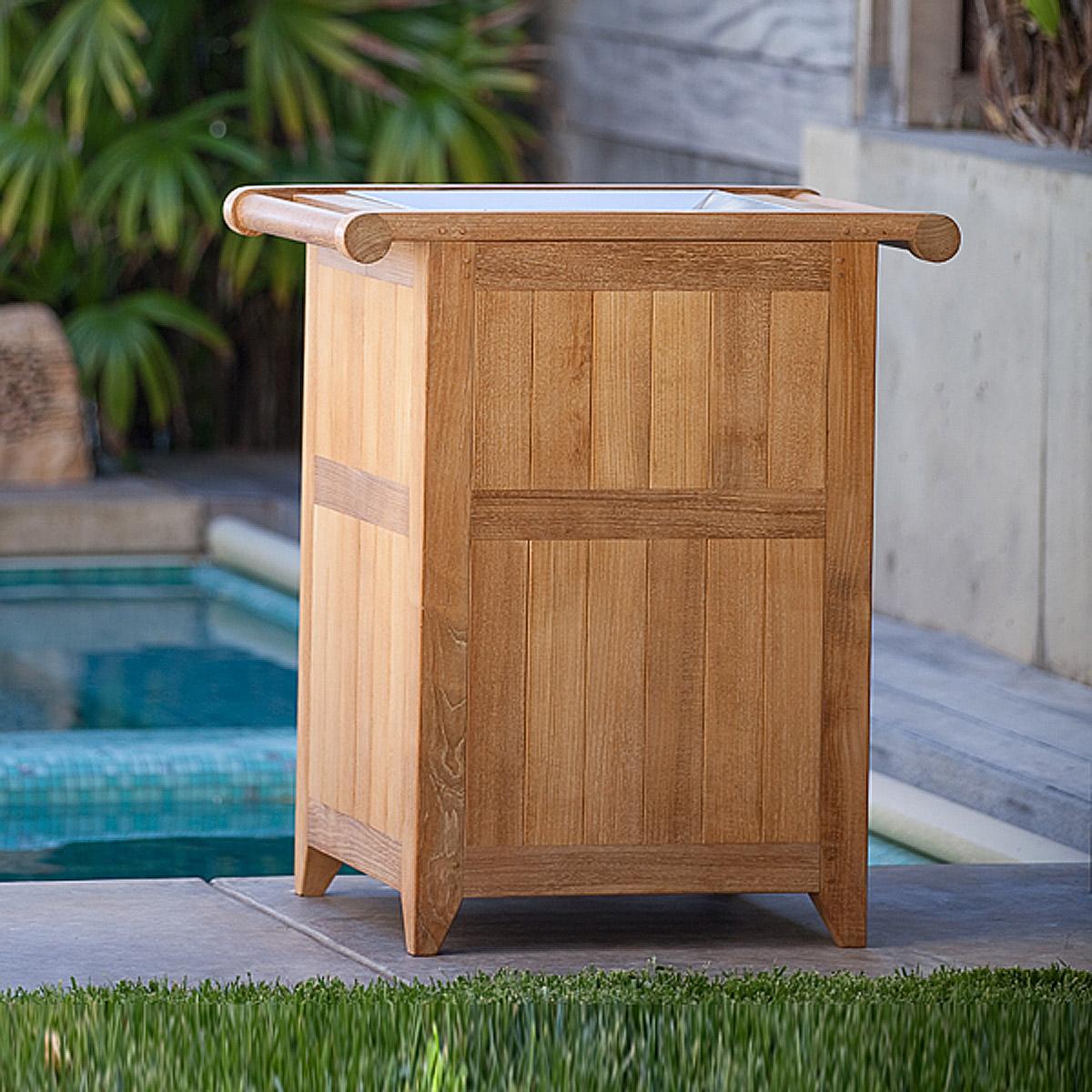 Teak Outdoor Trash Receptacle And Towel Hamper