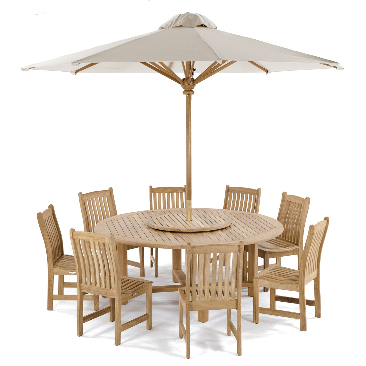Teak wood round dining set westminster teak outdoor furniture - Round teak table and chairs ...