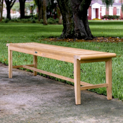 wooden slatted backless benches outdoor