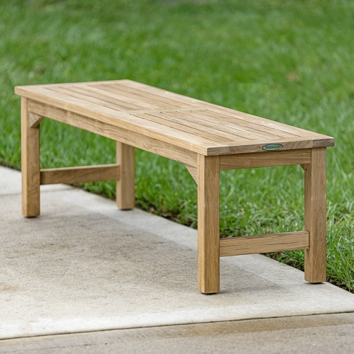 teak spa backless bench