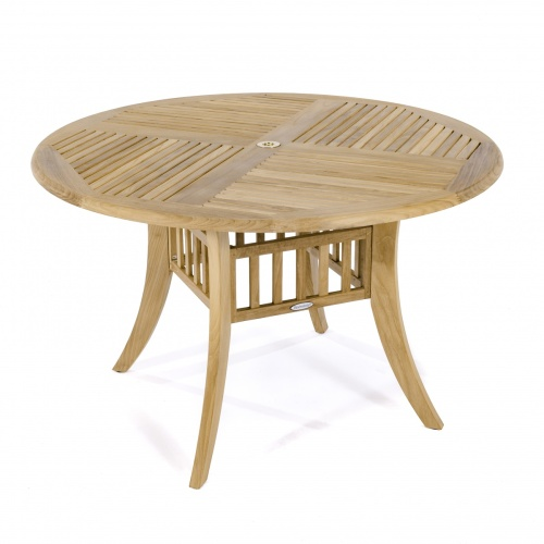 small teak round dining tables