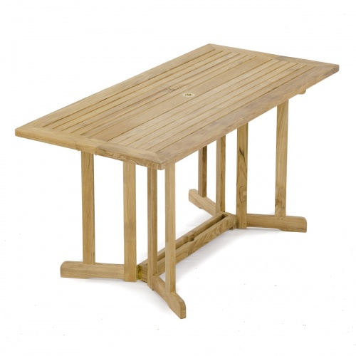 teak double drop leaf table outdoors