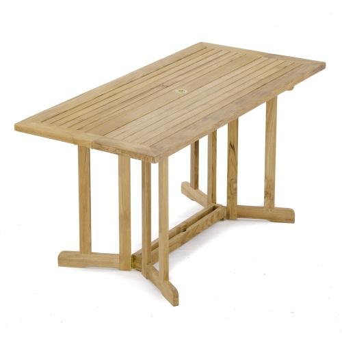 teak double drop leaf table outdoors