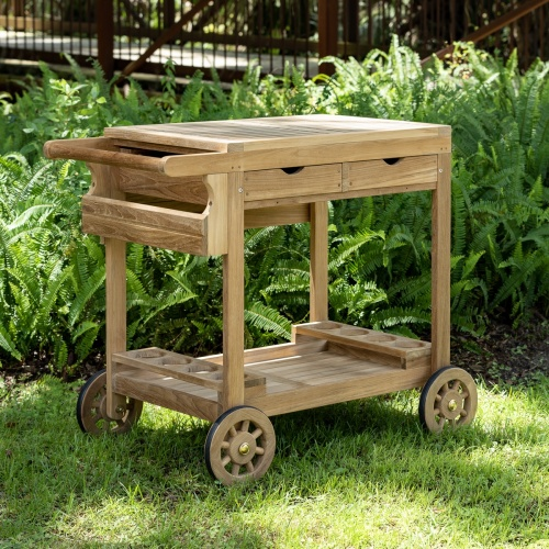 teak patio lawn serving table trolley