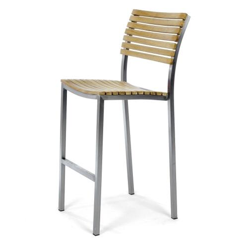 teak and stainless steel bar stool