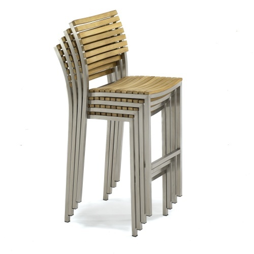 teak and stainless steel bar stool