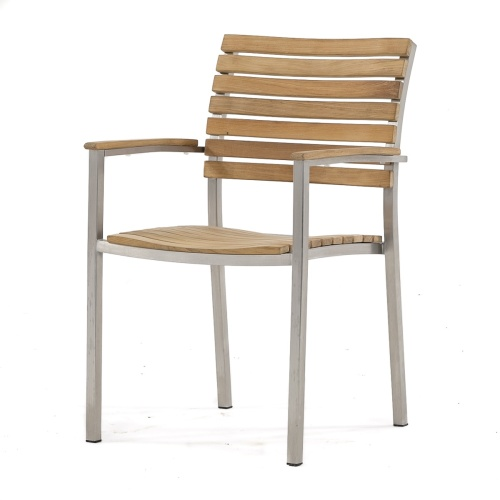Modern teak and Stainless Steel Arm Chair