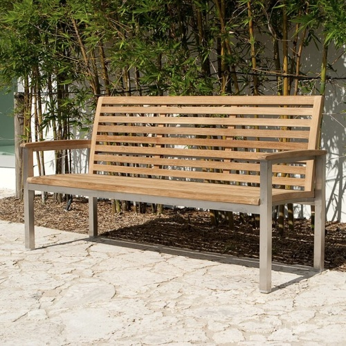Outdoor Vogue Teak Stainless Steel Deck Bench