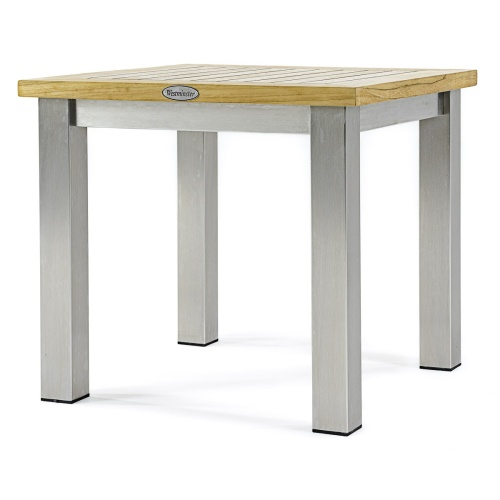 small teak stainless steel side tables outdoor
