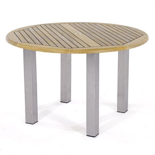 Stainless Steel and teak wood Round Table