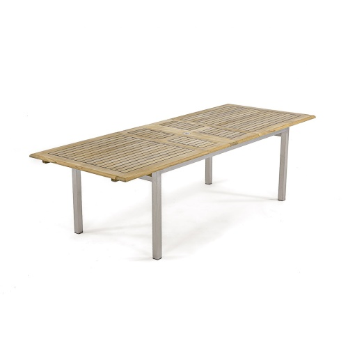 Teak Stainless Steel Extension Table Dining