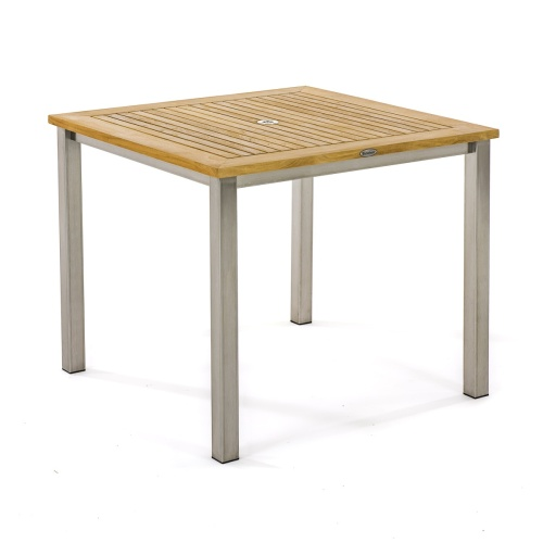 Square Teak and Stainless Steel Dining Table