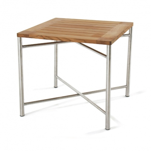 square folding teak and stainless steel  dining table