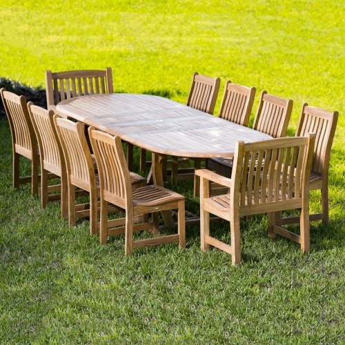 Montserrat 11 Pc Oval Teakwood Dining Set