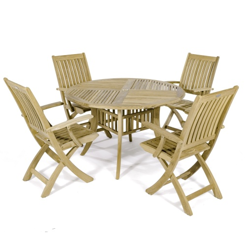 Round patio Set With 4 Dining Chairs