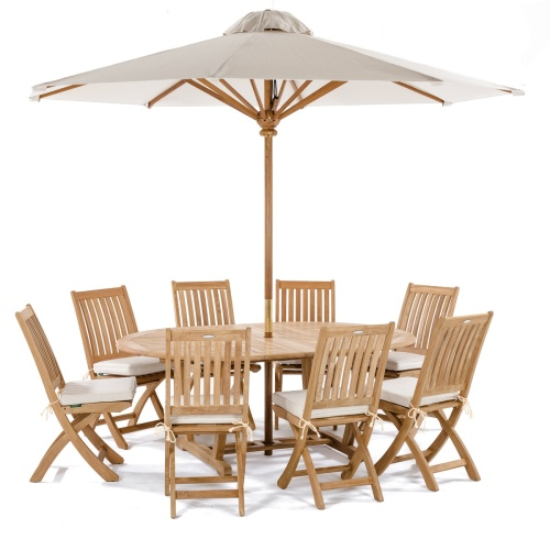 10 piece teak double extendable oval patio dining set