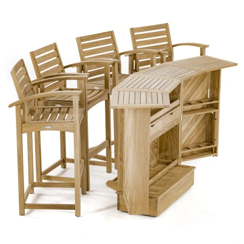 5 pc Teak Bar Set