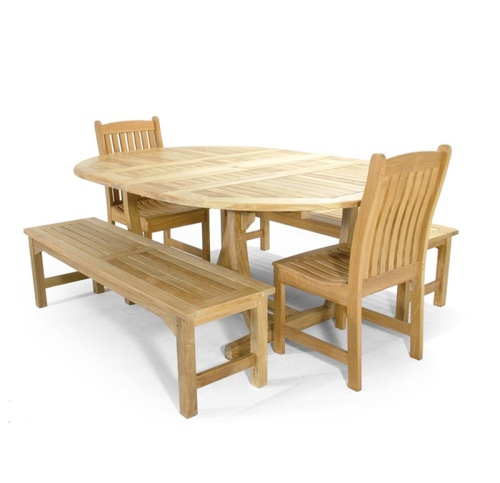 Teak outdoor bench set and Side Chairs