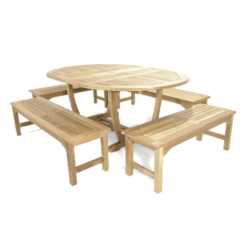 teak outdoor table bench set