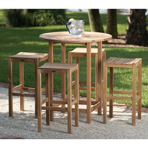teak wood bar table and 4 stools
