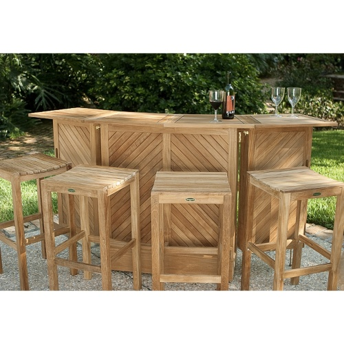 Teak Flip Top Table Bar Set