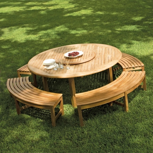 Buckingham 6 ft Teak Round Table Bacless Curved Bench Set