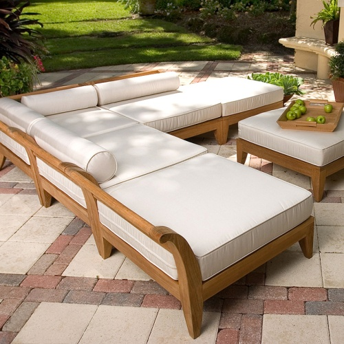 grade a teak sectionals with large cushions on sale