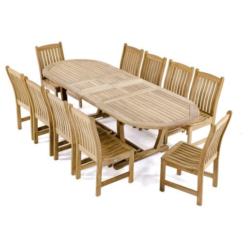 modern teak dining set for 10