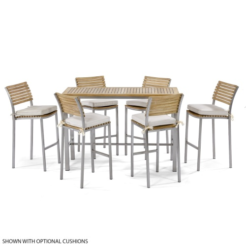 7pc Vogue Teak Bar Table Set