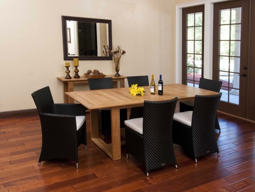 7 pc Wicker and Aluminum Dining Set