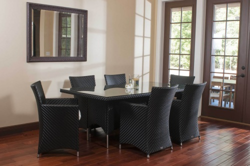 7pc Black Wicker Dining Set