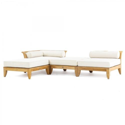 architecturally low profile teak sofa