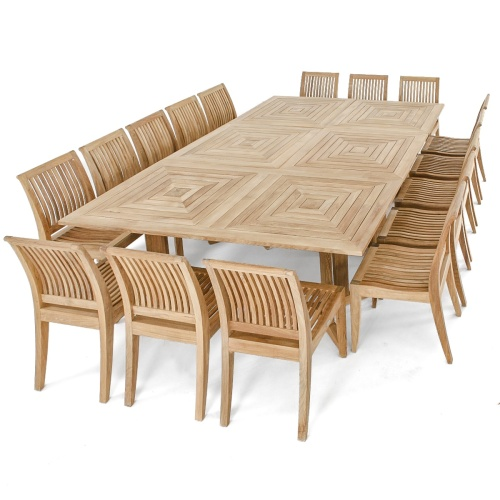 Pyramid Teak Dining Set For 16