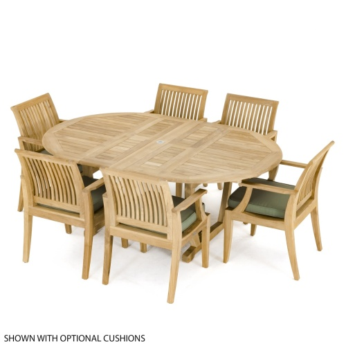 Round Oval Teak Table Set for 6