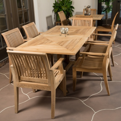 7pc teak patio dining sets