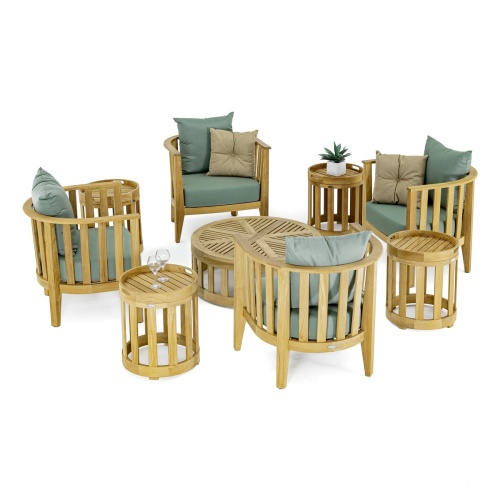 deep seating teak outdoor conversational set