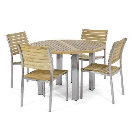 modern teak steel dining