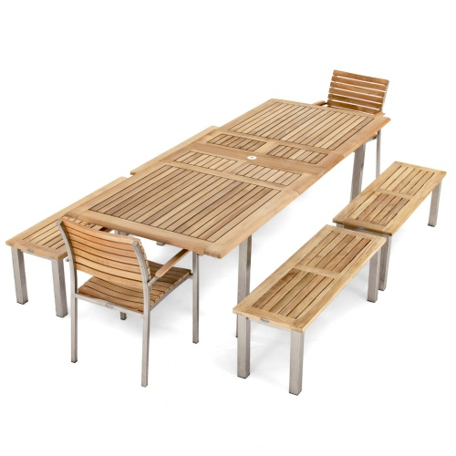 Vogue Teak and Stainless Picnic Set for 12