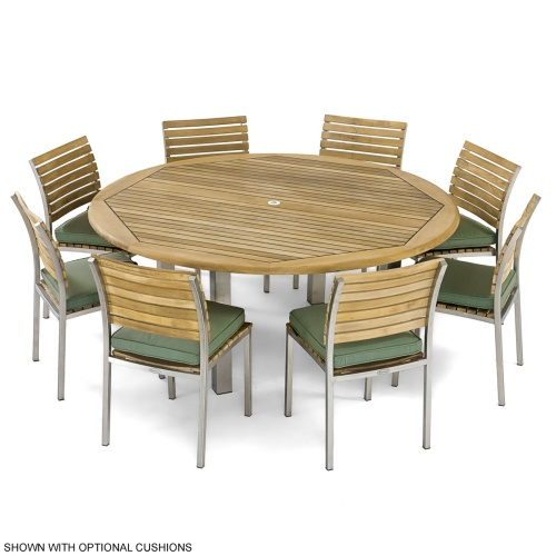 Teak Wood Stainless Steel  Dining Set for 8