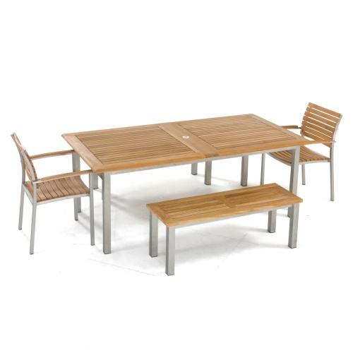 Rectangular Vogue Teak And Stanless Patio Set; Rectangular Marine Sealed  Teak And Stainless Steel Table; Teak Picnic Table With Benches ...