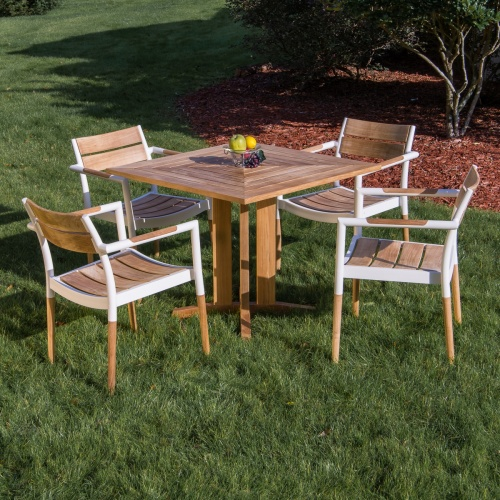 square teak wood aluminum table set