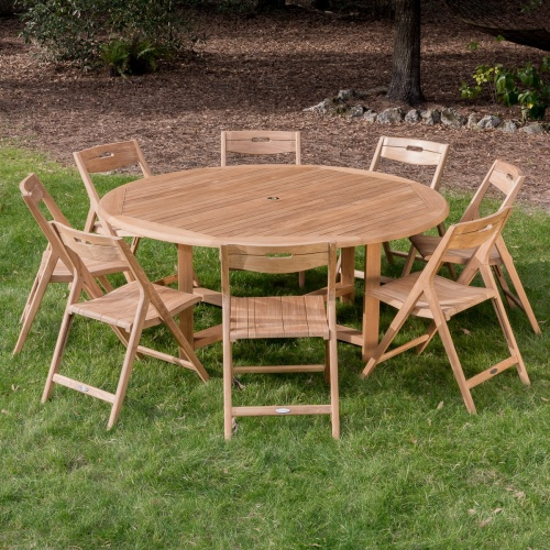 round 6 Ft Teak folding set for 8