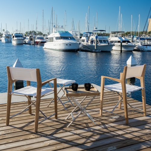 folding chairs teak and stainless with footrest