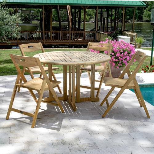 teak round folding table set 4